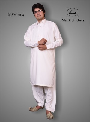 Mens simple embroided suit in offwhite colour