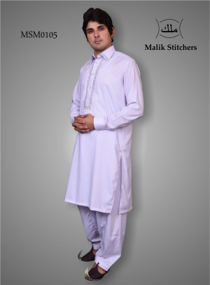 Mens White Shalwar Kameez With Contrast Embroidery