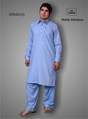 Men's Simple Embroided Shalwar Kameez in Sky Blue Colour