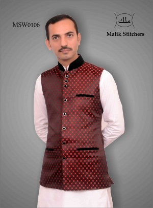 Fancy Jamawaar Waistcoat in Maroon with Valvet Band and Pockets