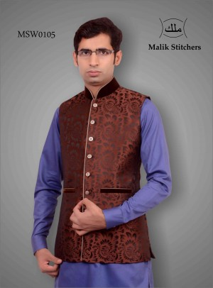 Mens Fancy Waistcoat in Maroon Jamawaar and Valvet