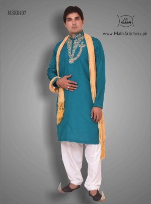 Gents Stylish Mehndi Kurta in Sea Green