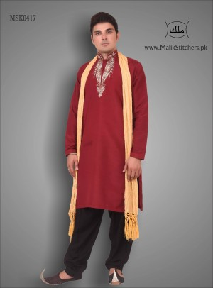 Gents Stylish Punjabi Kurta in Maroon Colour