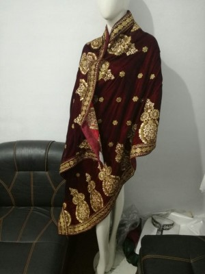 Maroon Velvet shawl with Gold Embroidery