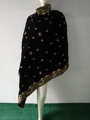 Simple Black Velvet Shawl