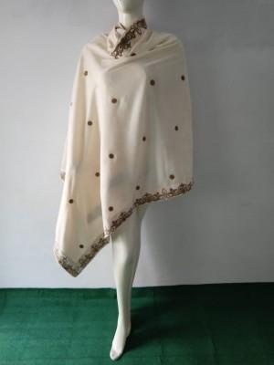 Designers velvet Shawl in Offwhite colour