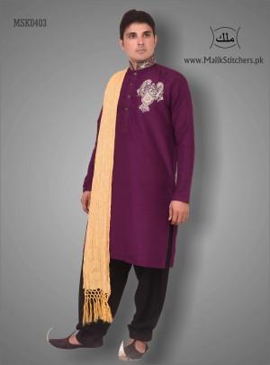 Gents Fancy Mehndi Kurta in Plump Colour