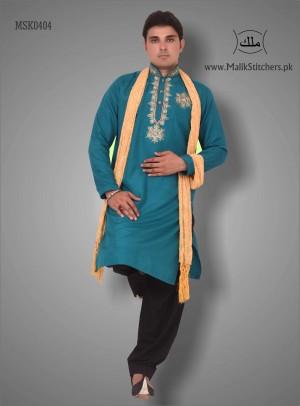Men's Mehndi Kurta in Sea Green Colour