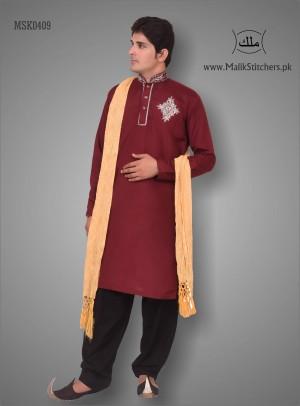 Men's Mehndi Kurta in Plump Colour