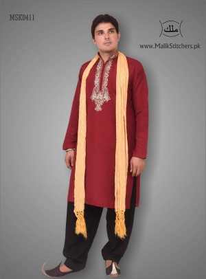 Men's Stylish Mehndi Kurta in Maroon Silk