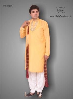 Gents Mehndi Kurta in Orange Colour