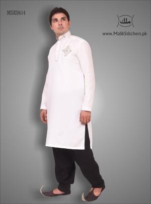 Men's Mehndi Kurta in White