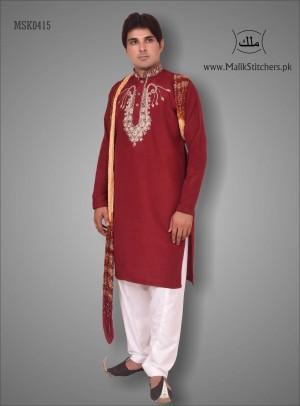 Men's Stunning Kurta Style in Maroon Colour