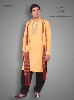 Men's Stylish Mehndi Kurta Design in Orange Colour