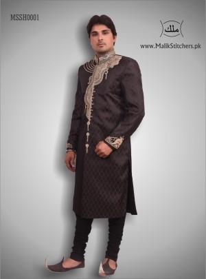 Men's Shairwani in Chocolate Brown Colour