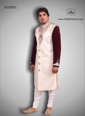 Men's Embroidered Shairwani in Cream and Maroon Color Combination