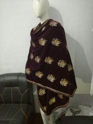Ladies Velvet Shawl in Magenta Colour