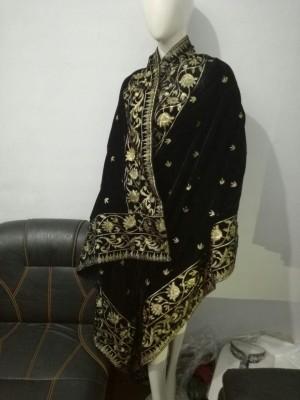 Fully Embroidered Velvet Shawl in Black Colour