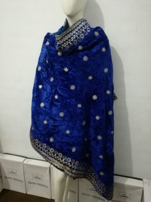 Ladies fully embroidered velvet shawl in royal blue color
