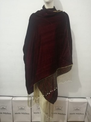 Ladies Bridal Shawls in Maroon Colour with Cut Stone Work