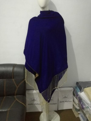 Ladies Royal Blue Velvet Shawl with Stone Strings at Pallo