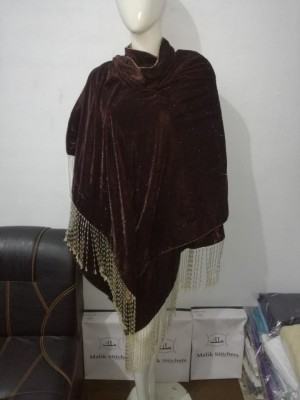 Ladies Chocolate Brown Velvet Shawl