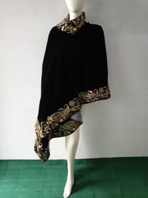 Four sided embroidered velvet shawl