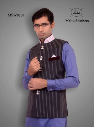 Stylish Waistcoat with Fancy Neck, Pocket and Buttons