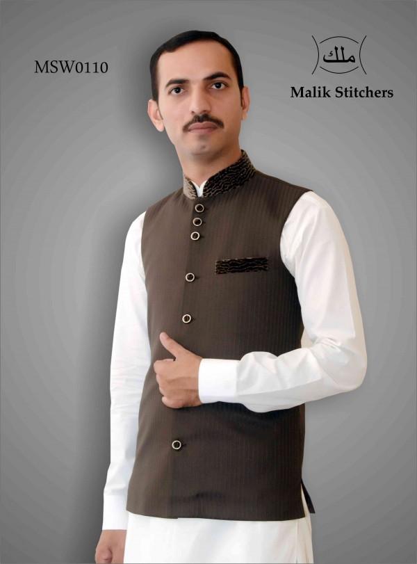 Fancy Black Waistcoat with Cheeta Print Ban & Pocket