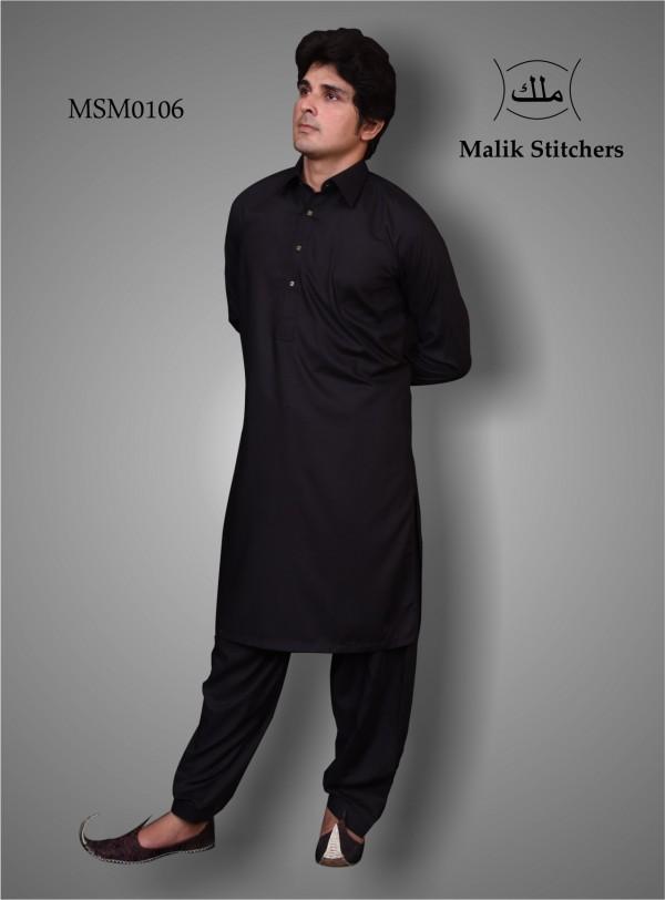 Men Plain Shalwar Kameez in Black