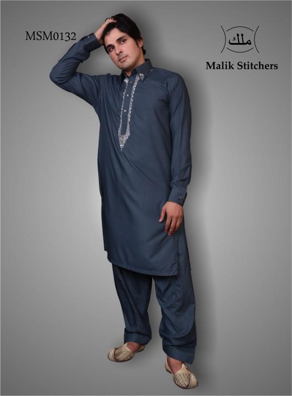Emboided Shalwar Kameez Kameez in Bluish Green Colour