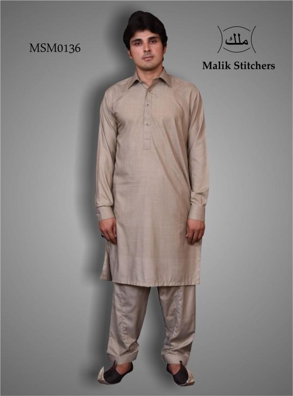 Mens's Simple Collar Shalwar Kameez in Grey Shade