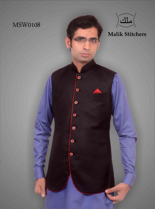 Men's Fancy Waistcoat in Black With Red Piping and Red Buttons