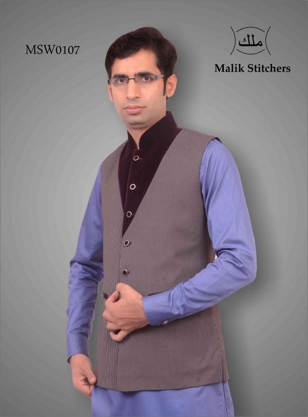 Fany Coat Style Waistcoat in Gray Wool and Maroon Valbet