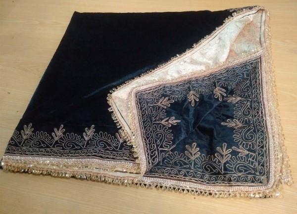 Fully embroidered velvet shawl