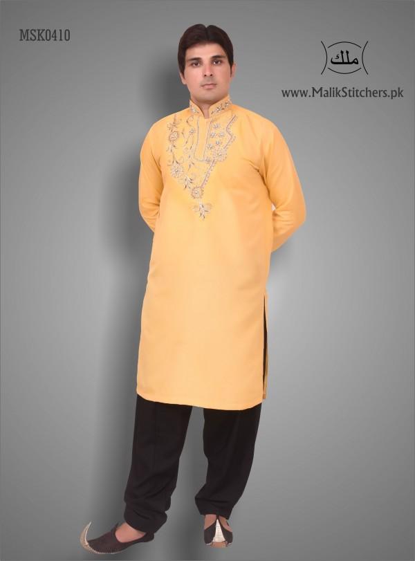 Men's Fancy Mehndi Kurta in Orange Colour