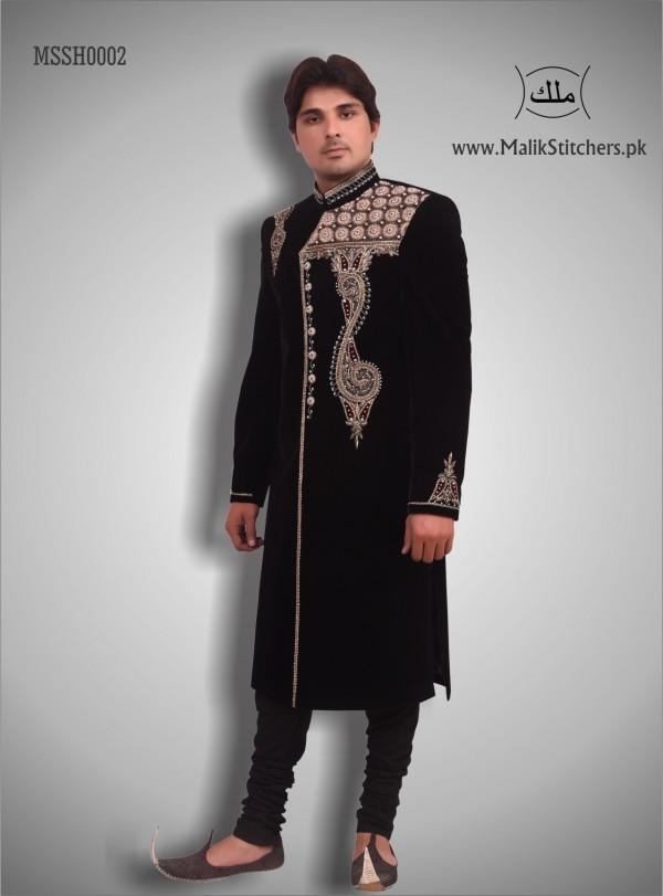 Men's Embroided Shairwani in Black Valvet wi