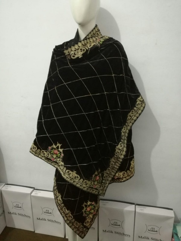 Black Vevet Shawl with Embroidery on it (Tilla Embroidery)